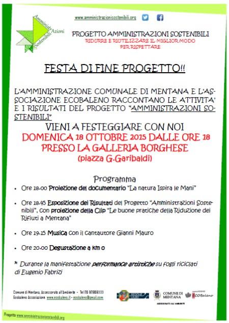 Domenica 18-10-2015 ore 18: evento di chiusura del progetto Amministrazioni Sostenibili