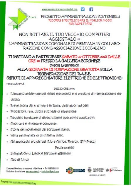 Sabato 17-10-2015: intera giornata di formazione gratuita sulla rigenerazione dei PC