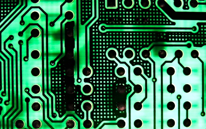 Closeup of old circuit board.